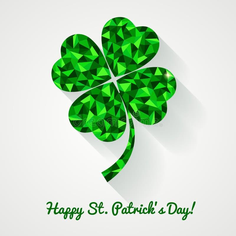 ¡El día de St Patrick feliz! Tarjeta de felicitación con el pasto poligonal del trébol stock de ilustración
