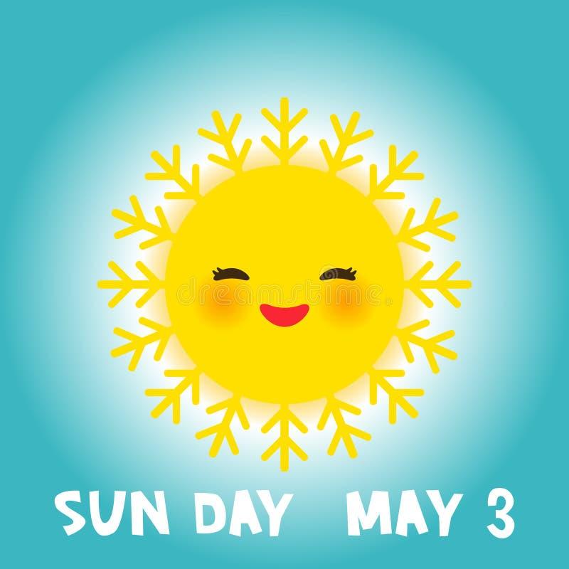 El día de Sun del mundo puede 3, sol amarillo divertido de Kawaii con las mejillas rosadas de las sonrisas lindas y los ojos en f stock de ilustración
