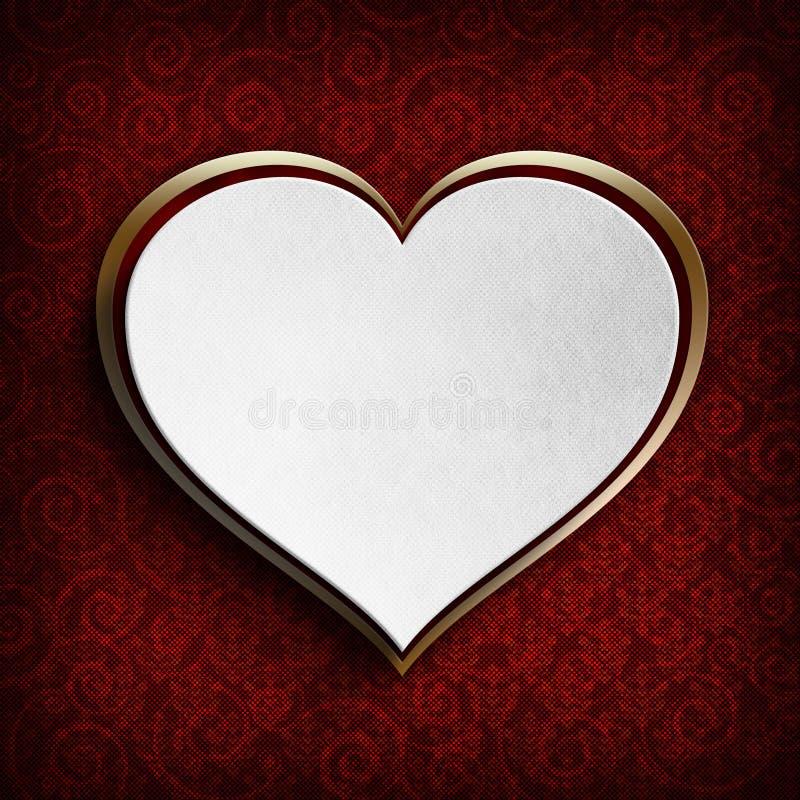 El día de tarjeta del día de San Valentín feliz - corazón blanco ilustración del vector