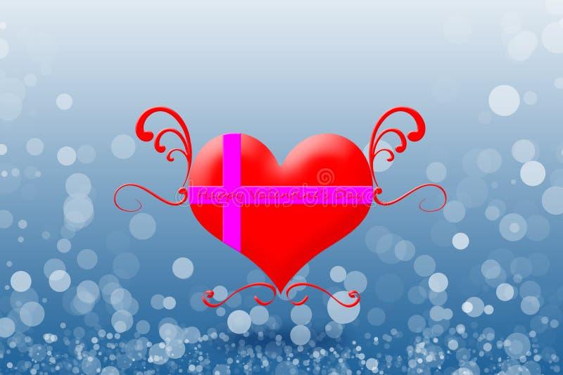 El día de tarjeta del día de San Valentín feliz en el fondo del bokeh fotos de archivo libres de regalías