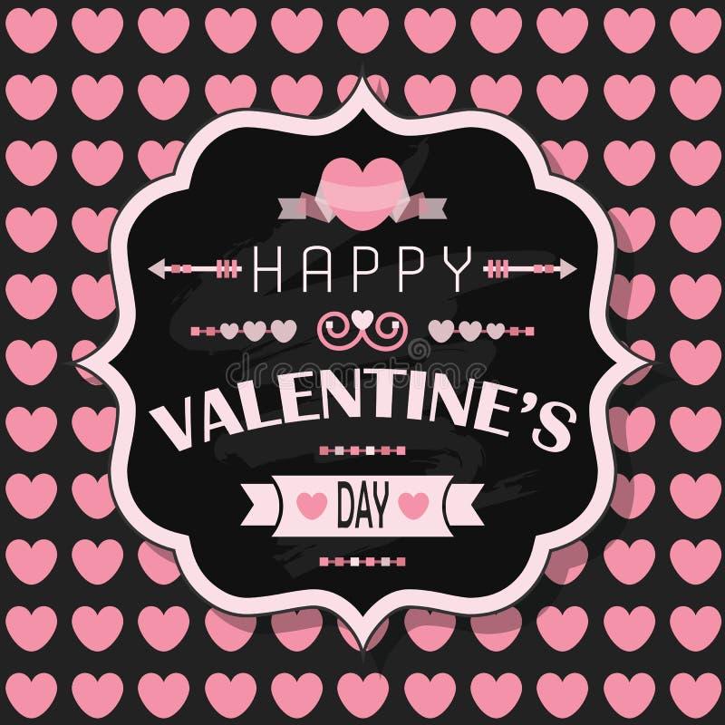 El día de tarjeta del día de San Valentín feliz - en fondo inconsútil del modelo del corazón rosado stock de ilustración