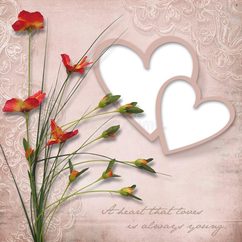 El día de tarjeta del día de San Valentín feliz. Tarjeta del vintage con el corazón-marco stock de ilustración