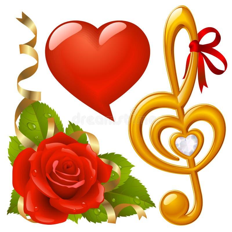 El Día De Tarjeta Del Día De San Valentín Fijó 2 Fotografía de archivo