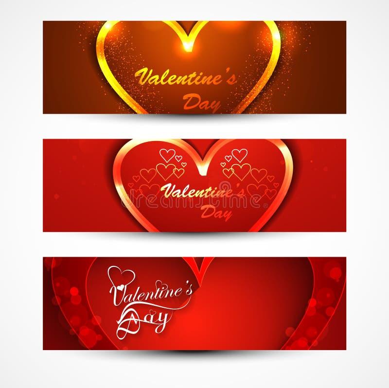 El día de tarjeta del día de San Valentín hermoso para las banderas o los jefes fijados  libre illustration