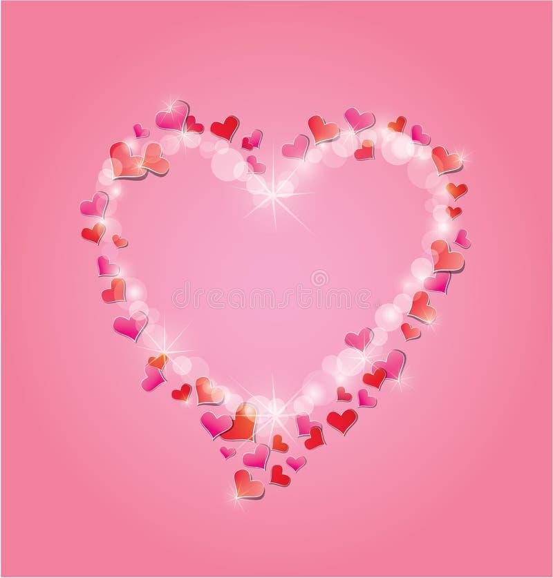 El día de tarjeta del día de San Valentín o casarse el fondo rosado con los corazones rojos ilustración del vector