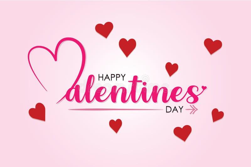 El día de tarjeta del día de San Valentín con el fondo del color ilustración del vector