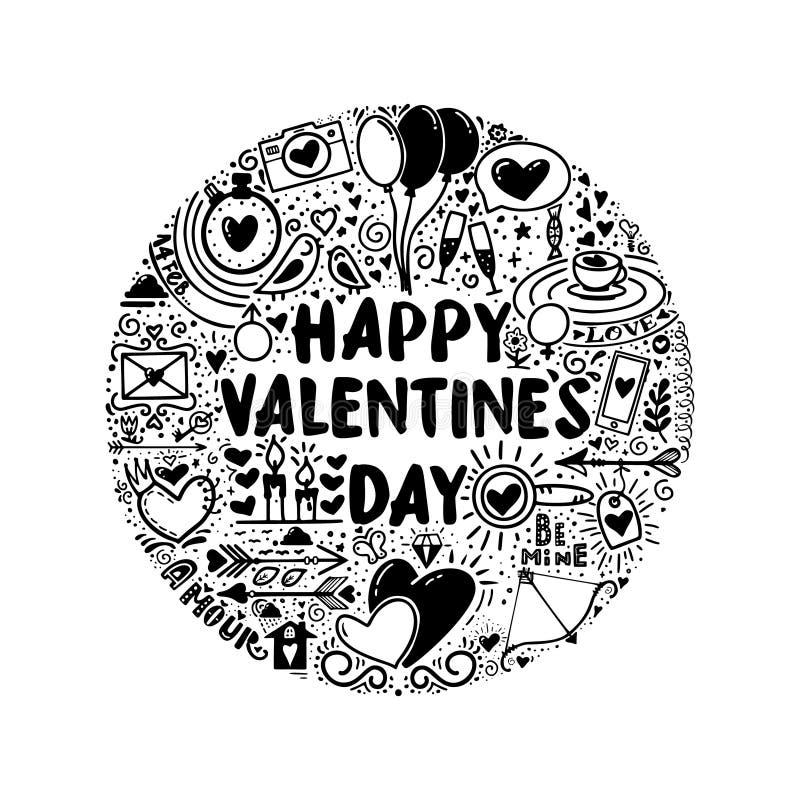 El día de tarjeta del día de San Valentín feliz - lema del garabato para un interior de la camiseta o del cartel, monocromo libre illustration