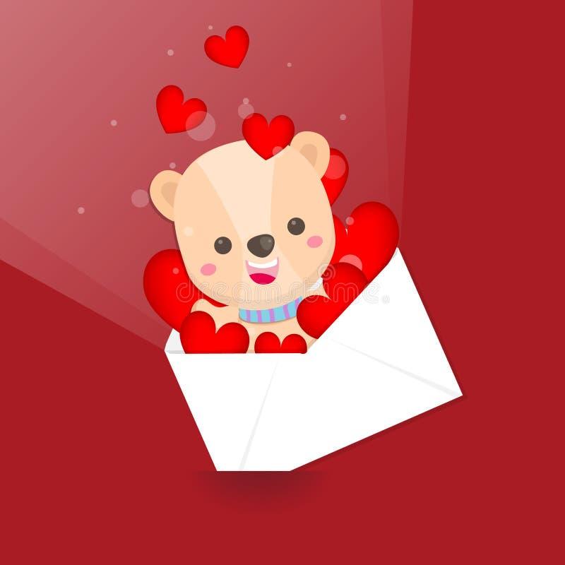 El d?a de tarjeta del d?a de San Valent?n feliz, oso lindo y el sobre del coraz?n en fondo rosado Tarjeta de felicitaci?n para el ilustración del vector