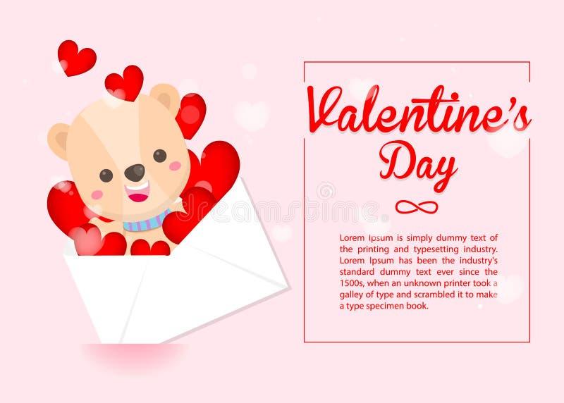 El d?a de tarjeta del d?a de San Valent?n feliz, oso lindo y el sobre del coraz?n en fondo rosado Tarjeta de felicitaci?n para el libre illustration