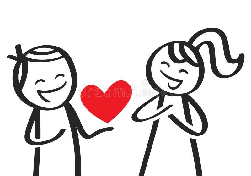 El día de tarjeta del día de San Valentín, figura masculina del palillo que da el corazón a la novia ilustración del vector