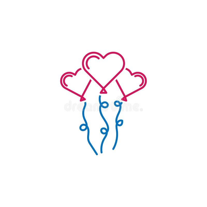 El día de tarjeta del día de San Valentín, globos, icono de los corazones Puede ser utilizado para la web, logotipo, app móvil, U imagen de archivo libre de regalías