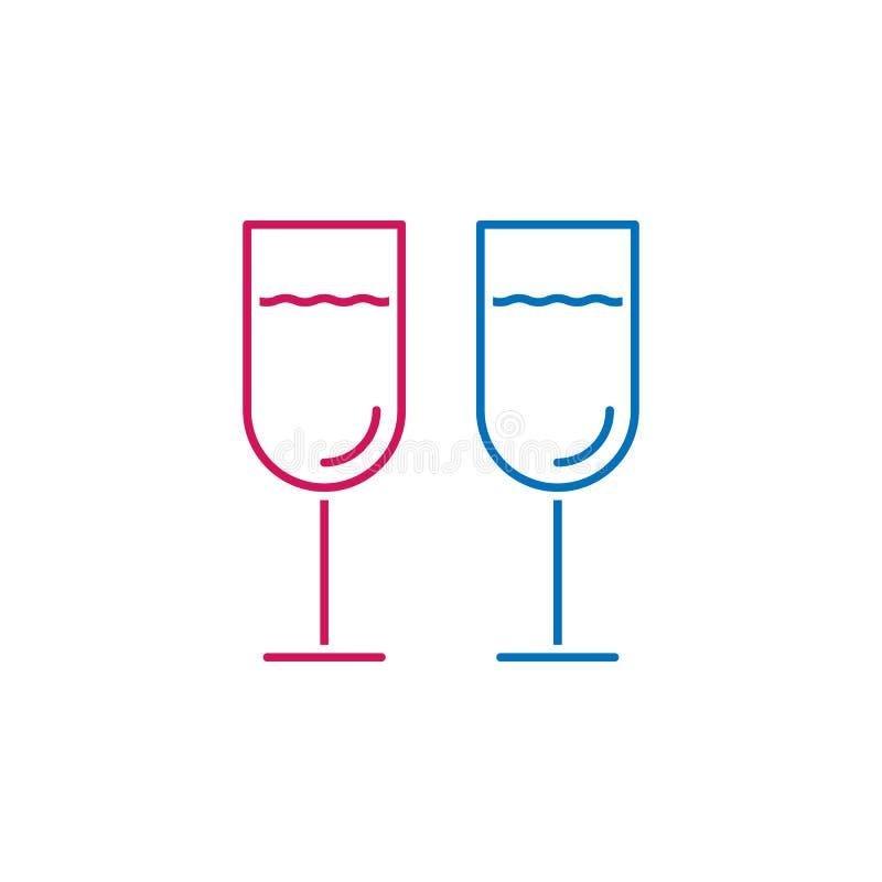 El día de tarjeta del día de San Valentín, icono de los vidrios del champán Puede ser utilizado para la web, logotipo, app móvil, ilustración del vector