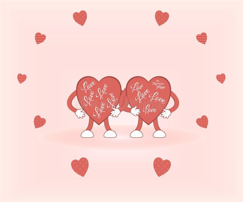 El día de tarjeta del día de San Valentín: los corazones rojos lindos llenados del control del amor de un fondo rosado rodeado po stock de ilustración