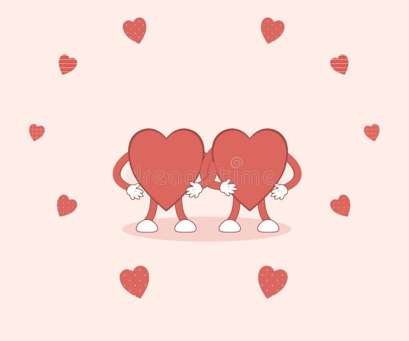 El día de tarjeta del día de San Valentín: los corazones rojos lindos se sostienen de común acuerdo en un fondo rosado rodeado po ilustración del vector
