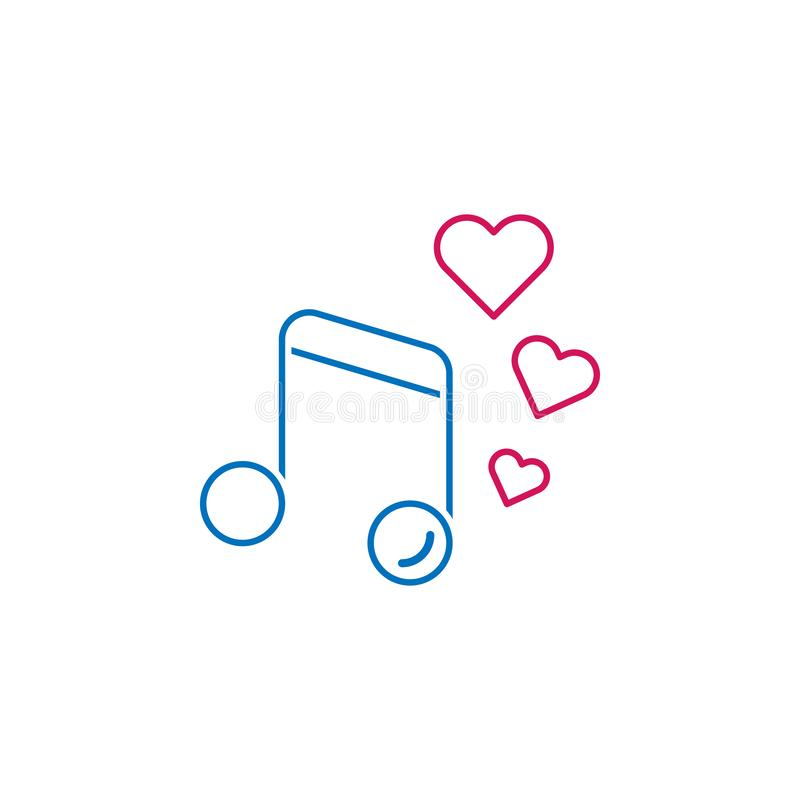 El día de tarjeta del día de San Valentín, música, icono de los corazones Puede ser utilizado para la web, logotipo, app móvil, U stock de ilustración