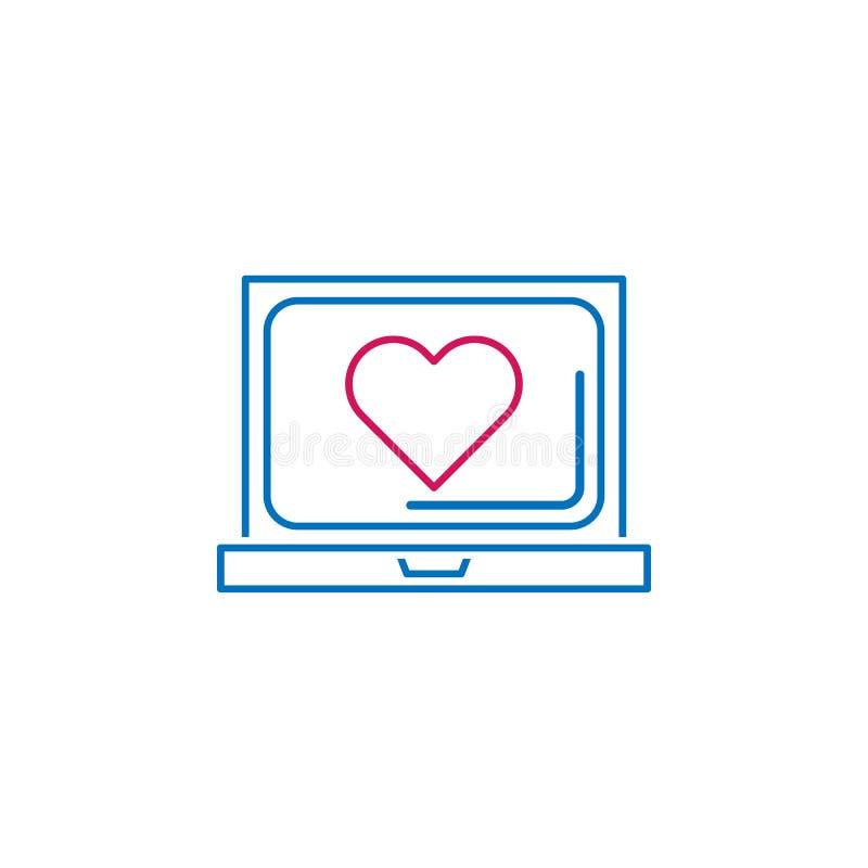 El día de tarjeta del día de San Valentín, ordenador portátil, icono del corazón Puede ser utilizado para la web, logotipo, app m stock de ilustración