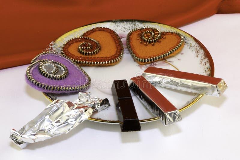 El día de tarjeta del día de San Valentín, productos hechos a mano del fieltro imagen de archivo