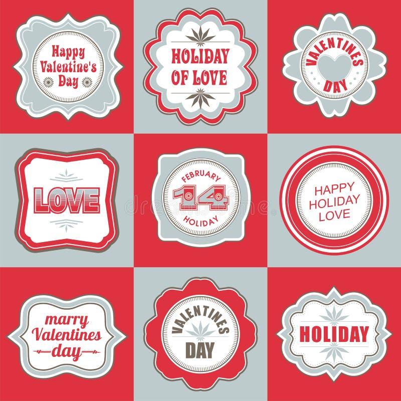 El día de tarjetas del día de San Valentín etiqueta etiquetas los artículos decorativos ilustración del vector