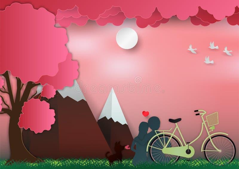 El día de tarjetas del día de San Valentín en fondo rosado con el hombre y la mujer en amor tienen la bici y un árbol estilo de p stock de ilustración