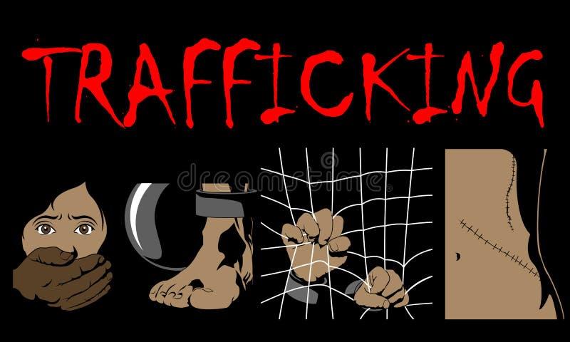 El día de tráfico humano de la conciencia, cuatro mecanografía el ejemplo del tráfico humano adentro libre illustration