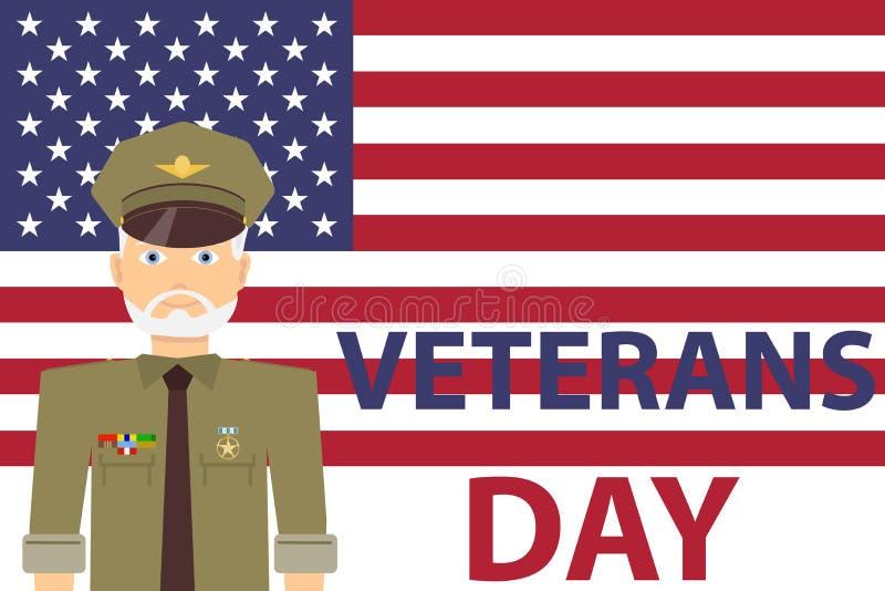 El día de veterano, hombre en uniforme militar con los premios en el fondo de la bandera de los E.E.U.U. stock de ilustración