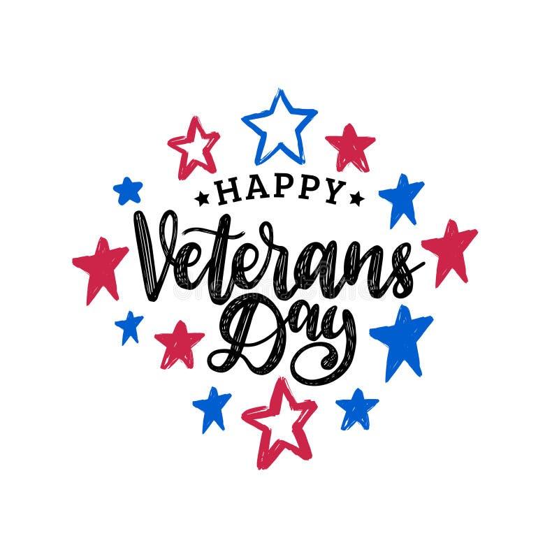 El día de veteranos feliz, letras de la mano en color protagoniza el fondo 11 de noviembre cartel del día de fiesta, tarjeta de f libre illustration