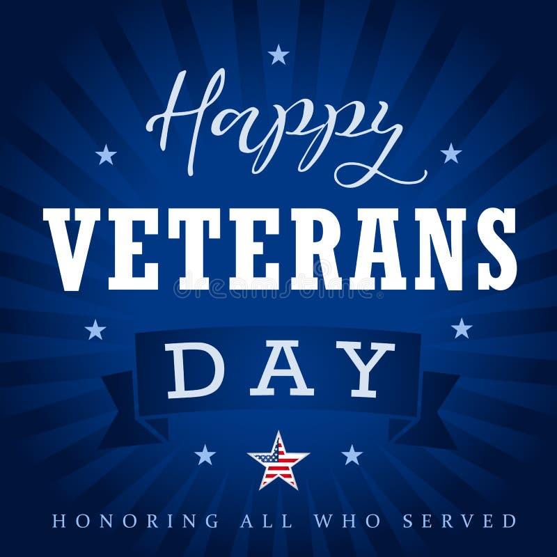 El día de veteranos feliz los E.E.U.U. protagoniza, cinta y los haces stock de ilustración