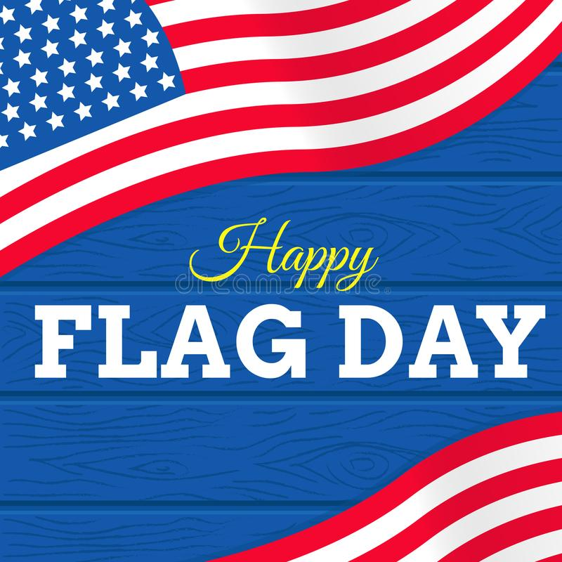 El día del backgroundflag del texto del día del océano del mundo con los E.E.U.U. señala vector por medio de una bandera en el fo stock de ilustración