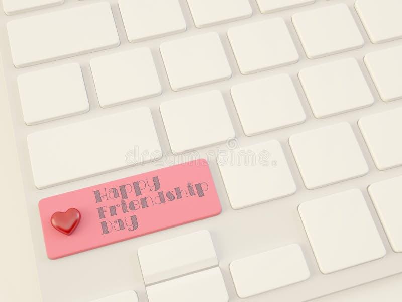 El día feliz de la amistad, corazón encendido incorpora llave stock de ilustración