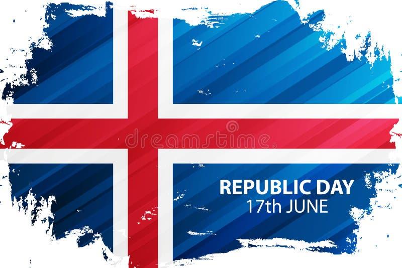 El día islandés de la república, celebra el 17 de junio la bandera con el movimiento del cepillo en colores de la bandera naciona stock de ilustración