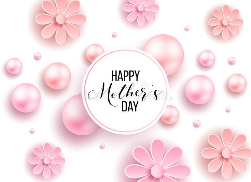 El día y los corazones de madre diseñan elementos Ilustración del vector Fondo rosado con las perlas, corazones fotos de archivo libres de regalías