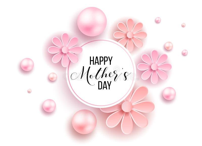 El día y los corazones de madre diseñan elementos Ilustración del vector Fondo rosado con las perlas, corazones imagen de archivo libre de regalías