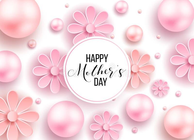 El día y los corazones de madre diseñan elementos Ilustración del vector Fondo rosado con las perlas, corazones stock de ilustración