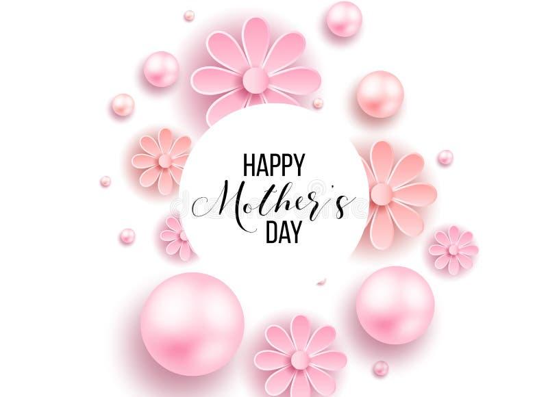 El día y los corazones de madre diseñan elementos Ilustración del vector Fondo rosado con las perlas, corazones fotografía de archivo