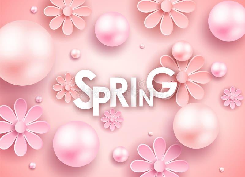 El día y los corazones de madre diseñan elementos Ilustración del vector Fondo rosado con las perlas, corazones imagenes de archivo