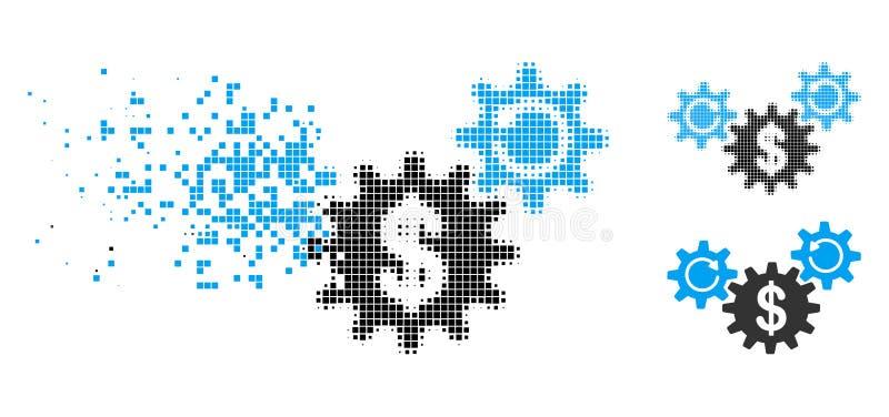 El dólar de semitono de mudanza de Pixelated rueda el icono de la rotación ilustración del vector