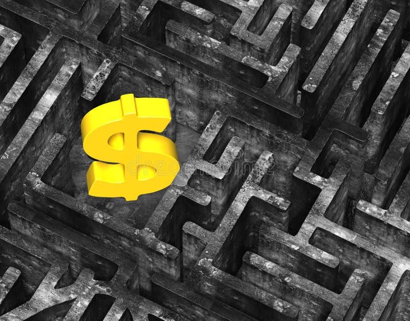 el dólar del oro 3D firma adentro vieja textura concreta abigarrada del laberinto libre illustration