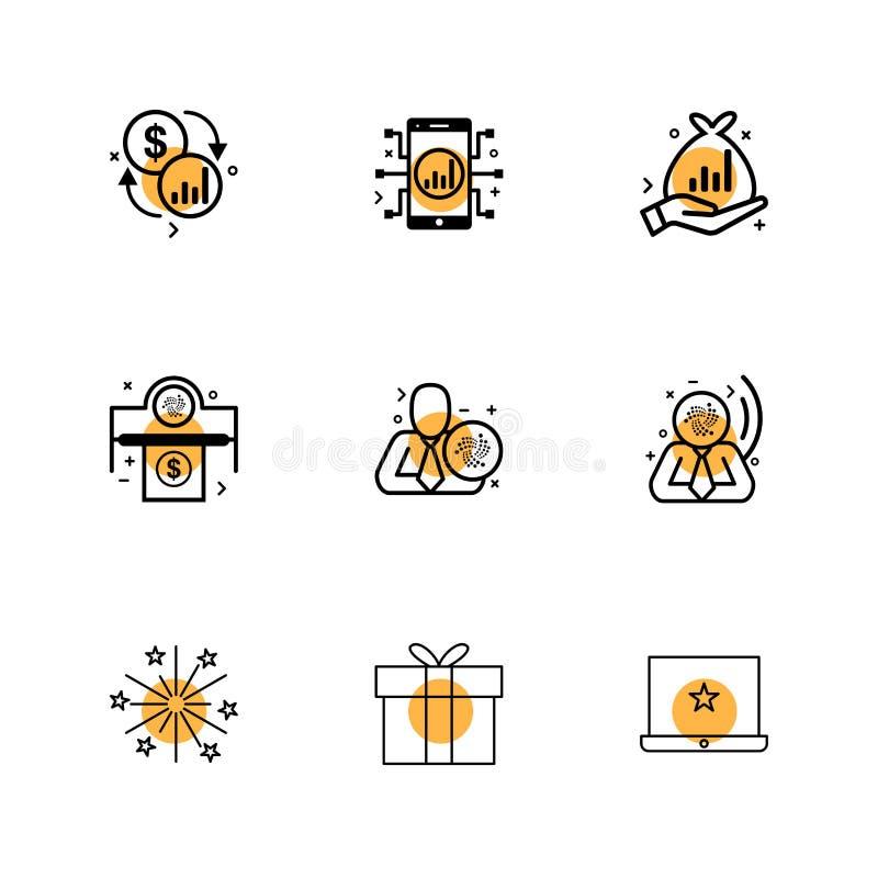 el dólar, móvil, fuego trabaja, dinero, caja, caja de regalo, corporat ilustración del vector