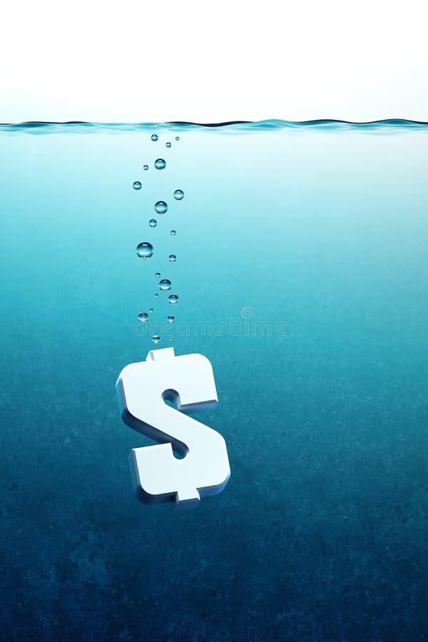 El dólar va abajo ilustración del vector