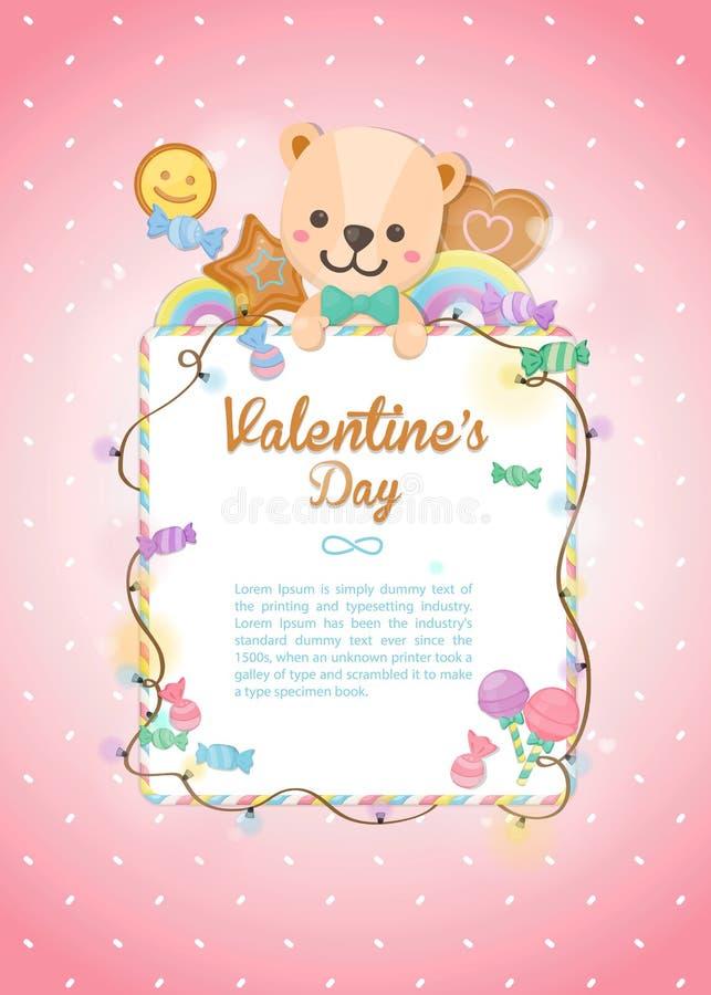 El d?a de tarjeta del d?a de San Valent?n feliz, oso del d?a de fiesta y postre coloridos en fondo en colores pastel Tarjeta de f stock de ilustración