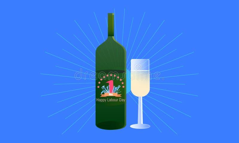 El d?a de trabajo feliz 1 puede beba su tiempo de vacaciones en botella concepto de dise?o de ingenier?a con el vernier de la reg ilustración del vector