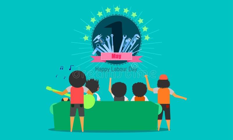 El d?a de trabajo feliz 1 puede Celebraci?n de la gente concepto de dise?o de ingenier?a con la barra del tramposo del calibrador stock de ilustración