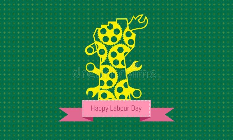 El d?a de trabajo feliz 1 puede la mano amarilla aparece las herramientas concepto de dise?o de ingenier?a con el calibrador a ve ilustración del vector
