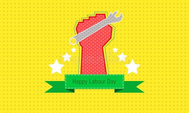 El d?a de trabajo feliz 1 puede la mano que sostiene una herramienta aparece concepto de diseño de ingeniería con el calibrador a ilustración del vector