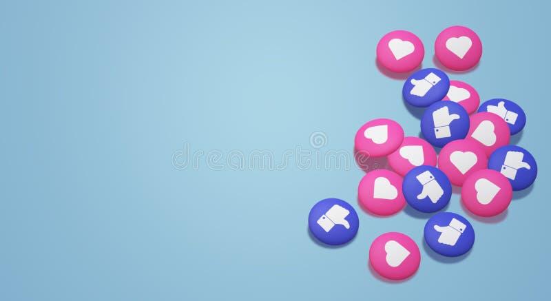 El 3d que rinde los pulgares para arriba y el icono socialde los medios del corazón ilustración del vector