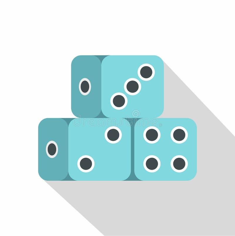 El dado azul cubica el icono, estilo plano ilustración del vector