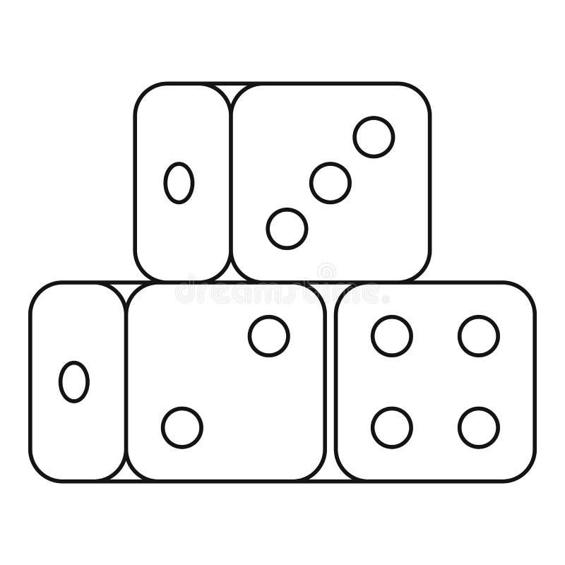 El dado cubica el icono, estilo del esquema libre illustration