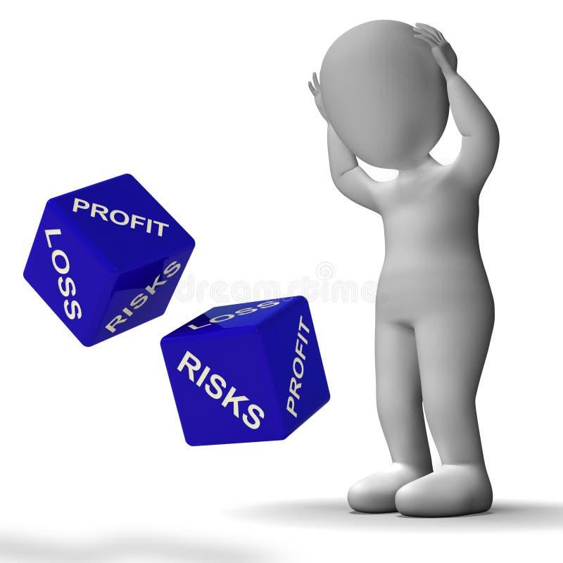 El dado de ganancias y pérdidas muestra las devoluciones para el asunto stock de ilustración
