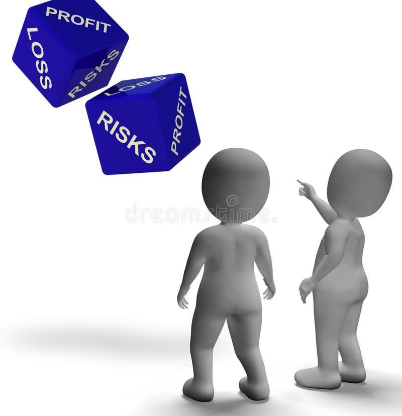 El dado de la pérdida del beneficio muestra las devoluciones para el negocio ilustración del vector