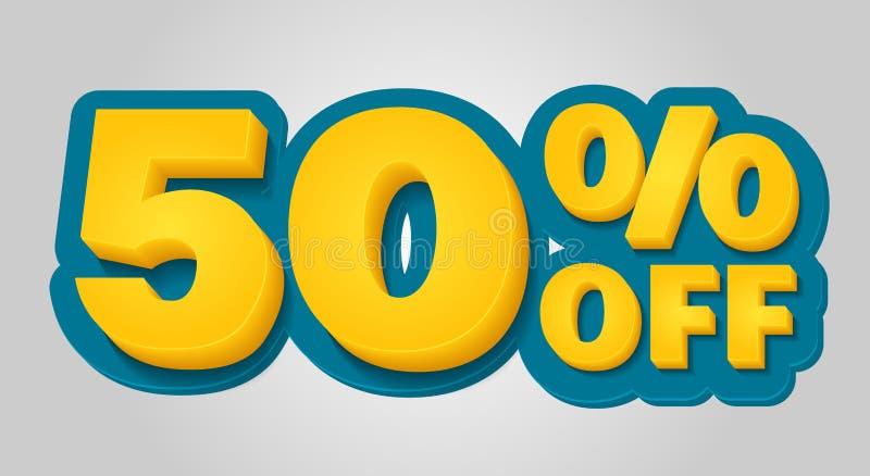el 50% de bandera del descuento Etiqueta de la venta de la oferta especial en el estilo 3d Vector azul y amarillo ilustración del vector